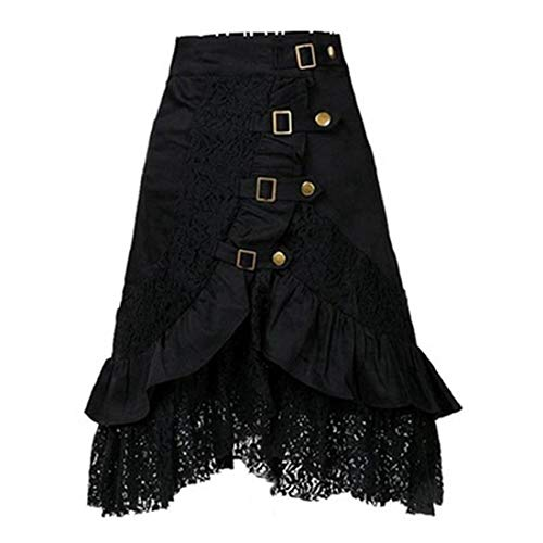 (Sunyastor Women's Steampunk Gothic Skirt Vintage Ruffle High Low Corset Dress Costume Gypsy Hippie Lace Party Pirate Skirt)