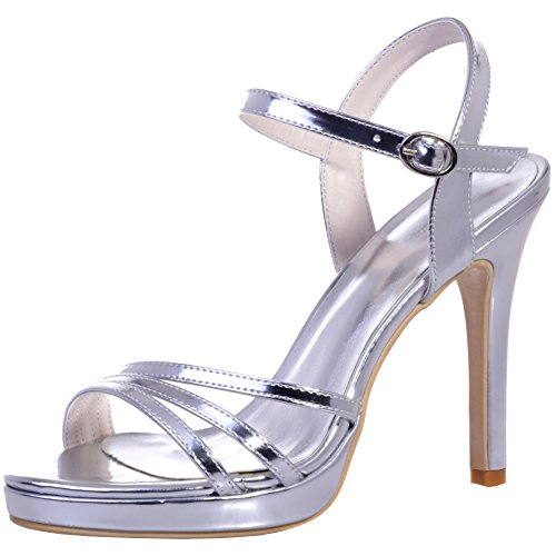 Loslandifen Donna Sera Prom Open Toe Sandali Cinturino Alla Caviglia Sandali Tacco Alto Scarpe Da Sposa Argento-a