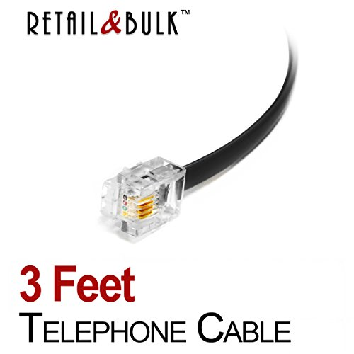 (3 Feet Premium Quality Telephone Cable, RJ11 Male to Male 6P4C Phone Line Cord. Made in USA by Retail&Bulk (36 Inch, Black))