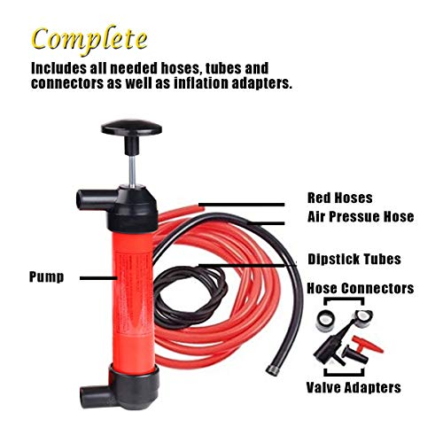 VaygWay Siphon Oil Gas Pump- Liquid Air Fuel Fluid Tool-Transfer Pump Kit Extractor - Syphon Hose Car Auto SUV