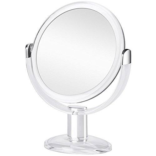 Orange Tech Double Sided Magnifying Makeup Mirror, 1X & 10X Magnification with 360 Degree Rotation, Magnified Vanity Mirror for Bathroom or Bedroom Table Top - Clear & -