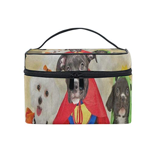 Makeup Bag Hipster Puppy Dog Dressed In Halloween Costumes Cosmetic Bag Portable Large Toiletry Bag for Women/Girls -