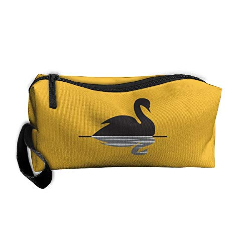 Cosmetic Bags With Zipper Makeup Bag Black Swan Swimming Middle Wallet Hangbag Wristlet Holder -