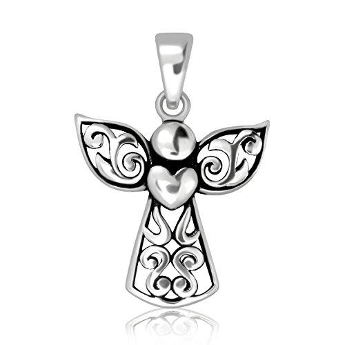 Filigree Angel Charm - WithLoveSilver 925 Sterling Silver Bali Filigree Cross Guardian Angel Holding Heart Wing Pendant
