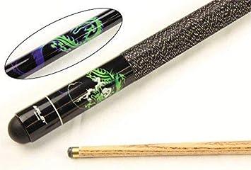 Taco de billar negro con diseño de dragón y bola 8, 2 piezas, punta ...