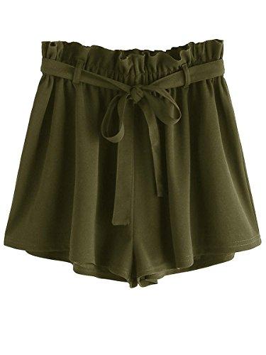 Romwe Women's Casual Elastic Waist Summer Shorts Jersey Walking Shorts Green XXL