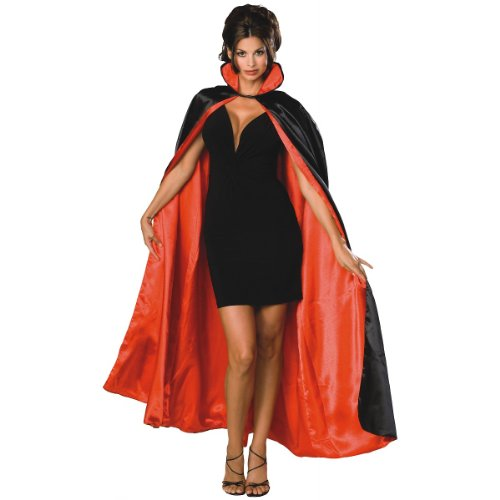 Satin Witch Costume (Black/Red Reversible Satin Cape Costume)