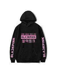 ZIGJOY Kpop Blackpink Hoodie Long Sleeve Sweatshirt Hooded Unisex Pullover Rose Jennie Jisoo Lisa for Fans