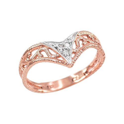 (Fine 10k Rose Gold Filigree Chevron Diamond Ring for Women (Size 8))