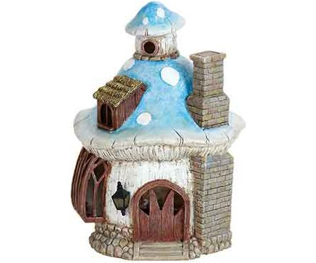 Miniature Fairy Garden Solar Blue Roof Mushroom House
