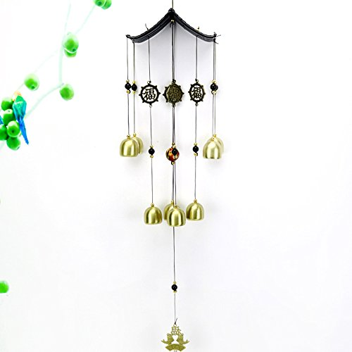 Y-Step Antique Copper 8 Bells Wind Chimes Outdoor Home Decoration Fengshui