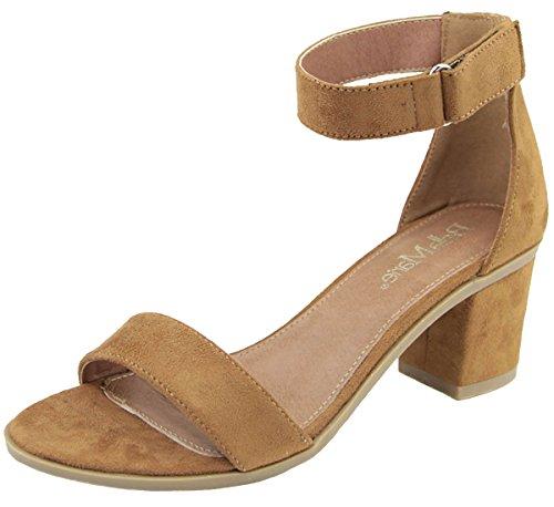 Bella Marie Women's Velcro Low Chunky Heel - Black,8 B(M) US,Tan