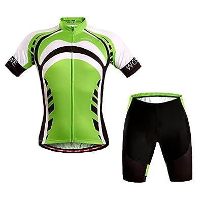 PhilMat Wosawe manches courtes costume de sport de costume de vélo de sport avec coussin de gel 4d vert unisexe