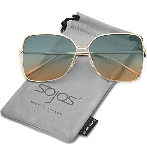 SOJOS Fashion Oversized Square Sunglasses for Women Flat Mirrored Lens SJ1082 with Gold Frame/Green and Brown - Trim Head Feed