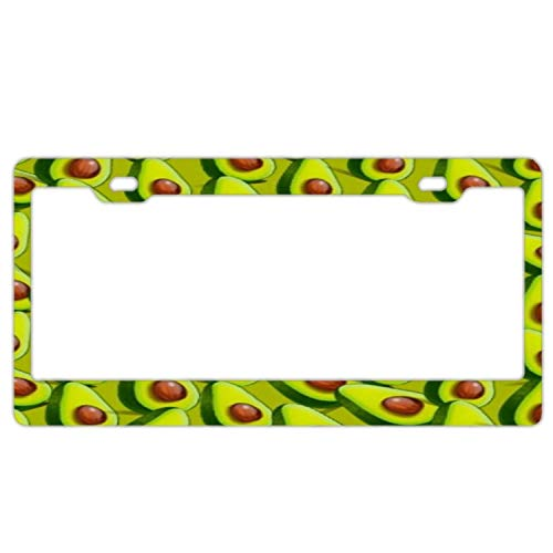 huizehonghong Green Avocado Black Aluminum Metal License Plate Frame, Chrome License Plate Tag Holder (Screw Cap Covers)