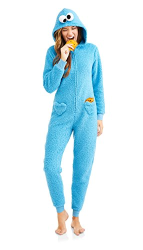 Sesame Street Womens Cookie Monster Sherpa Onesie Union Suit (Blue, XL) -