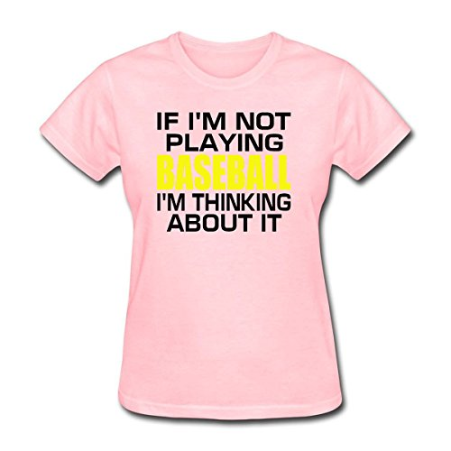 WYLIN Women's If I'm Not Playing Baseball I'm Thinking About It T-Shirt