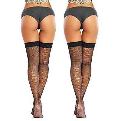 Joyaria Womens Fishnet Thigh-High Stockings with Stay-Up Lace Top at Women's Clothing store