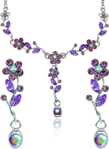 Amethyst Color Crystal Flower Petal Garden Rhinestone Necklace and Earrings Jewelry Set [Bridal Jewelry]