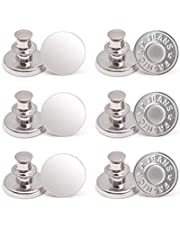 12 Sets Button Pins for Jeans, No Sew Jean Buttons Replacement,Removable Adjustable Instant Extender or Reduce Any Pants Waist (Silver)