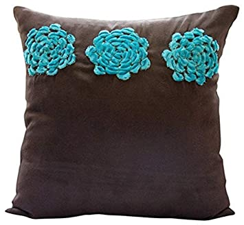 Brown Throw Pillows Cover for Couch, Turquoise Origami Flower Floral Theme Pillows Cover, 18 x18 Throw Pillow Cover, Square Faux Suede Throw Pillows Cover, Floral Modern Pillow Cases – Turq Blooms