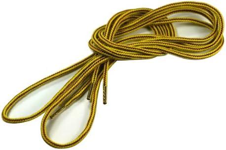 (クツヒモドットコム)靴ひも.com ワークブーツ用靴紐・黄×茶(約4mm) 150cm・160cm・170cm・180cm
