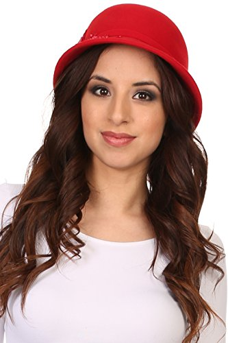 Beaded Cloche - Sakkas CL2162 - Perla Vintage Wool Cloche Bucket Embroidered Beaded Embellished Hat Cap - Red - OS