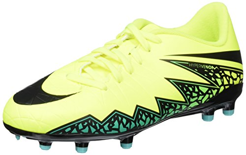 NIKE Jr. Hypervenom Phelon II FG Indoor Soccer Shoe (Sz. 5Y) Volt, Jade Green