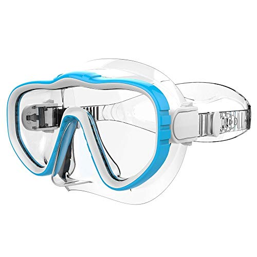 (Kraken Aquatics Snorkel Dive Mask with Silicone Skirt and Strap for Scuba Diving, Snorkeling and Freediving | Blue )