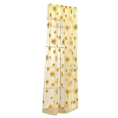 TOOGOO R Voile Cafe Net Curtain Panel Window Curtain or Tassel String Door Divider Decor Big flower sunflower 100*200 yellow