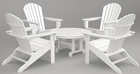 Trex Outdoor Furniture by Polywood 5-Piece Cape Cod Adirondack Conversation Group, Classic White - Classic Collection Adirondack Deck Chair