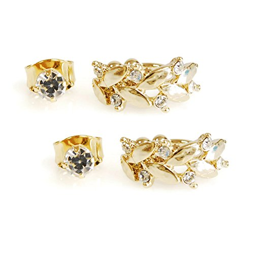 2 Pairs Gold Silver Carved Leaf Crystal Non Piercing Ear Cuff and Cubic Stud Earring Set