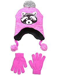Big Girls' Chunky Knit Hat with Sequin Applique and Glove Set