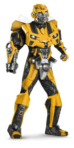 Disguise Men's Hasbro Transformers Age Of Extinction Movie Bumblebee Theatrical with Vacuform Plus 3D Costume, Black/yellow, X-Large/42-46 (Adult Transformers Costume)