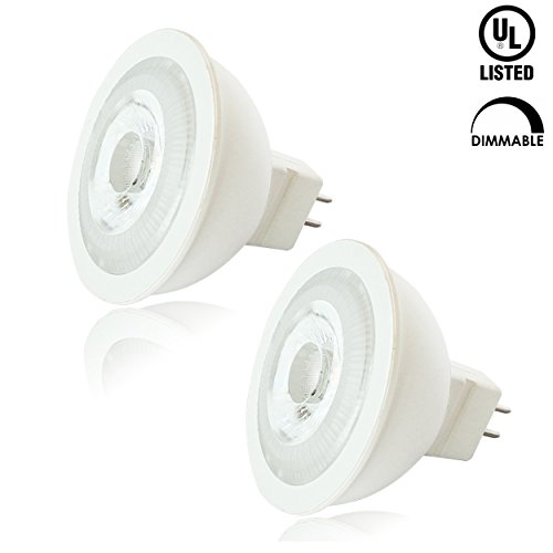 Luxrite LR21302 (2-Pack) 7W MR16 LED Bulb, 12V, 50W Halogen Replacement, Dimmable, Cool White 4100K, 550 Lumens, 25° Narrow Beam Spotlight, GU5.3 Base, UL Listed - 100w 12v Mr16 2 Pin
