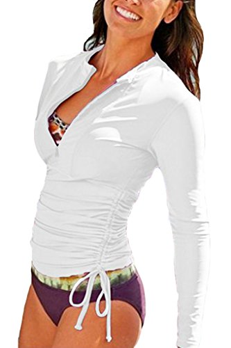 Micosuza UV Sun Protection Women's Basic Skins Long-Sleeve Rashguard Top, White, M for Chest 34