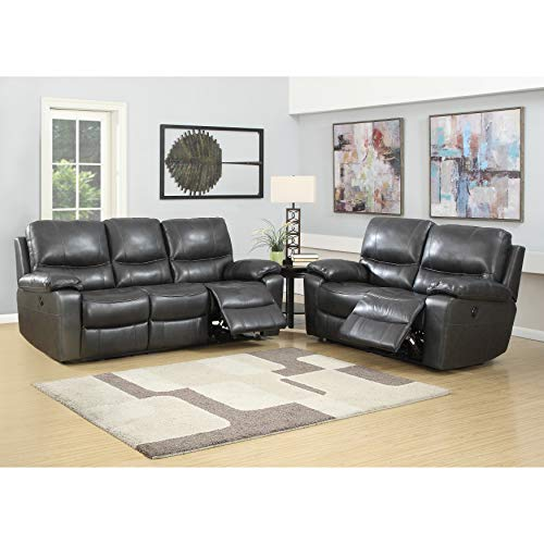 Pulaski 155-A033-783-K2 Loveseat and Sofa Power Charcoal Grey Reclining Leather Living Room Set, ()