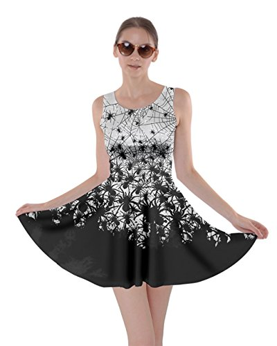 CowCow Womens Black Horror Spider Halloween Bats Skater Dress, Black - 3XL (Horror Dress)