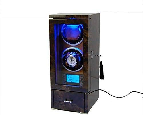 ZGQA-GQA 2 + 0自動ウッドウォッチワインダーシングルローテーションワインダーデジタルディスプレイプレミアムサイレントモーター木製の収納ケース 表盒