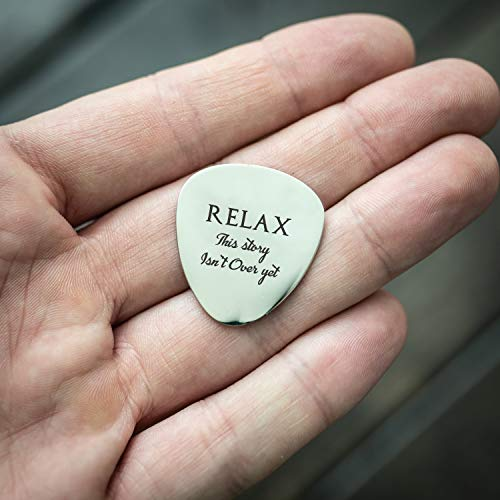 Relax This Story Is Not Over Yet Guitar Pick Minimalism Quote Mental Health Awareness Reminder Depression Beautiful Hand Stamped Custom Guitar Pick ()