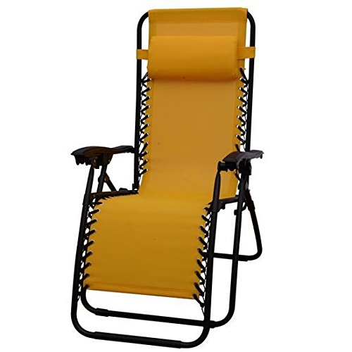 Outsunny Zero Gravity Recliner Lounge Patio Pool Chair, Gold