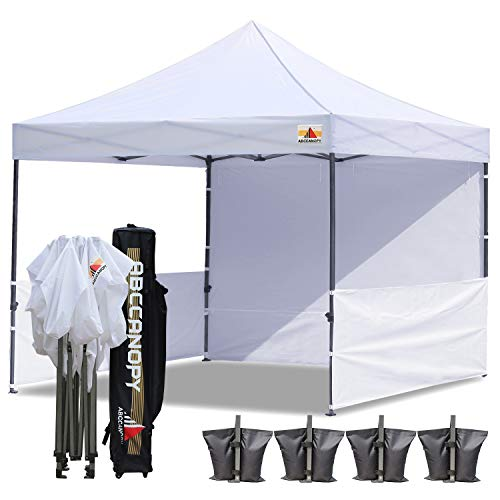 ABCCANOPY 10×10 Rhino-Series Easy Pop Up Canopy Tent Commmercial Grade with Matching Sidewalls and Roller Bag bouns 2pcs Half Wall (White) For Sale