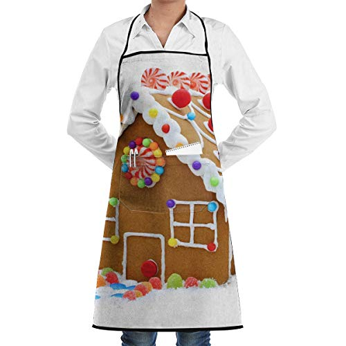 Adjustable Bib Apron with Pockets, Apron Christmas Clipart Gingerbread House Faction Unisex Kitchen Cooking Garden Apron Sewing Pocket Waterproof Chef Aprons