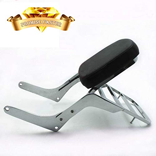 Promise Faster Motorcycle Sissy Bar Backrest + Luggage Rack Pad for Honda CA250 Rebel 250 CMX250 Heavt-Duty