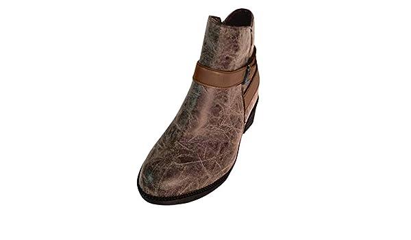 ღLILICATღ Botines Mujer, Zapatos de Tacón Medio Cuero Punta ...