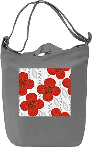 Red Flowers Pattern Borsa Giornaliera Canvas Canvas Day Bag| 100% Premium Cotton Canvas| DTG Printing|