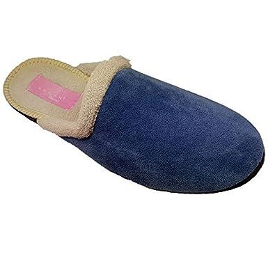Sapphire Boutique by Sapphire Saphir Boutique Damen Gepunktet Pom Pom ohne Bügel Bequem Flauschig Maultier Fest Sohle Pantoffeln - Blau, 5 UK