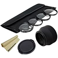 49MM Professional (+1 +2 +4 +10) Close-Up Macro Filter Set & Collapsible Rubber Lens Hood & Snap-On Lens Cap for Sony NEX-5R, NEX-3, NEX-5, NEX-6, NEX-C3, NEX-5N, NEX-7, NEX-F3, NEX-VG10, NEX-VG20, NEX-VG30, NEXFS100, NEX-FS700, NEX-EA50E Interchangeable Lens Camera (with E-Mount 18-55mm, 30mm, 16mm, 24mm, 55-210mm, 50mm Lenses) + Super JB Digital Microfiber Cleaning Cloth