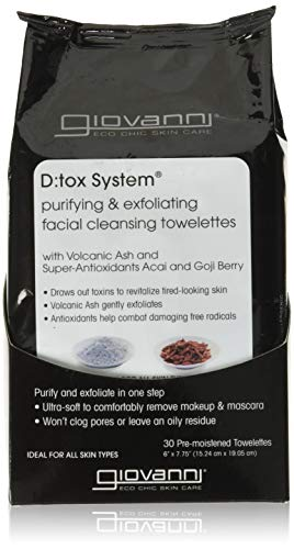 GIOVANNI COSMETICS - D:Tox System Purifying & Exfoliating Facial Cleansing Towelettes (30 Towelettes, 6 Inches x 7.75 Inches)