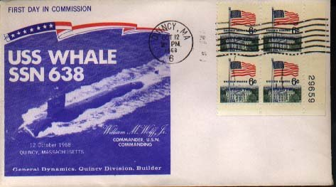 USS Whale Quincy MA Oct. 12 1968. . Ship Launch Cover
